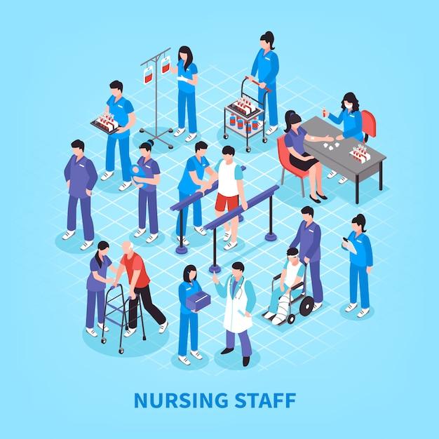 Hospital nurses flowchart isometric poster Free Vector