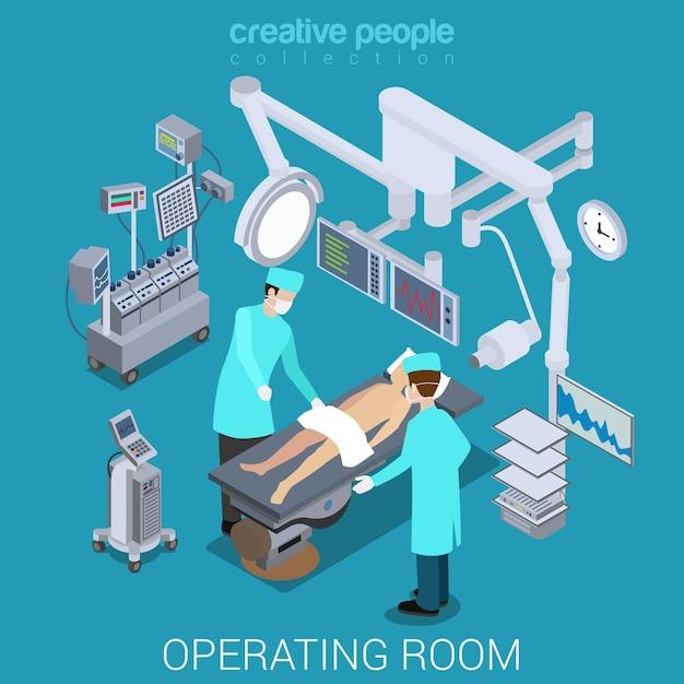 Больница операционная комната процесс плоский изометрический Premium векторы