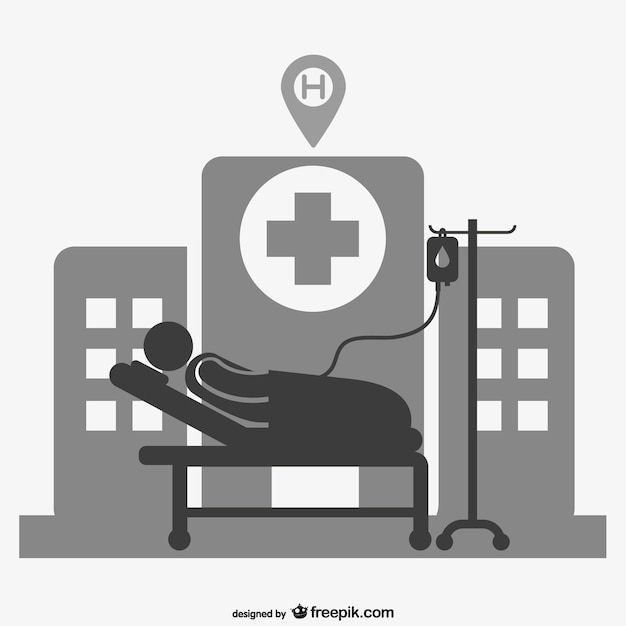 Hospital patient silhouette Vector | Free Download