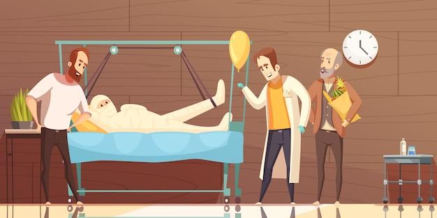 Hospital patient visitors cartoon Free Vector