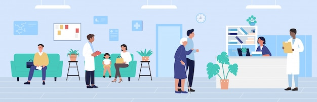 Иллюстрация приемной больницы, мультяшные пациенты, ожидающие назначения врача, фон офиса медицины Premium векторы