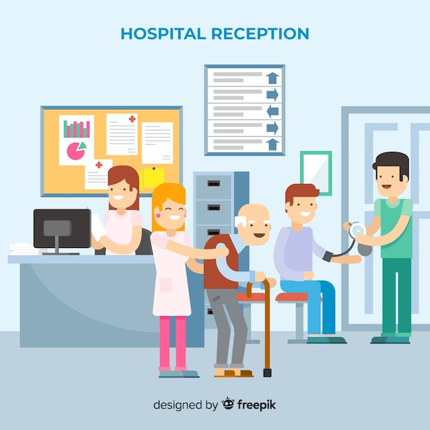 Hospital reception with flat design Free Vector