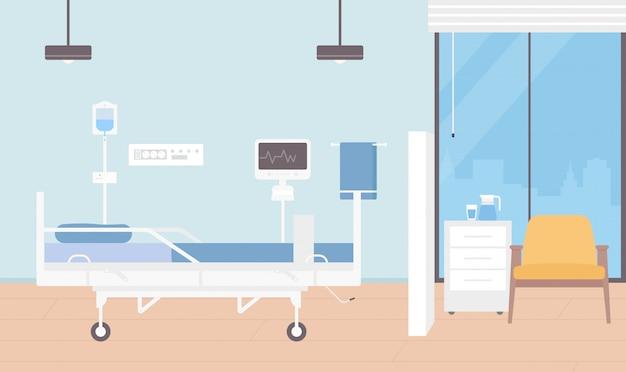 病室インテリアイラスト、現代の医療機器の背景を持つ患者の入院のための漫画空の病棟 Premiumベクター