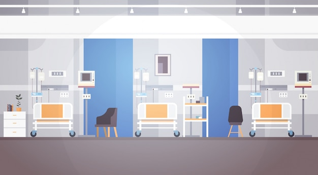 Hospital room interior intensive therapy patient ward banner with copy space Premium Vector