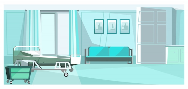 Hospital room with bed on wheels illustration Free Vector