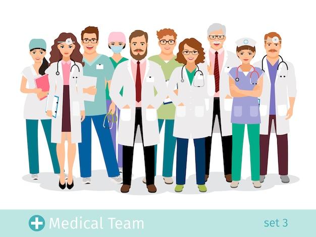 Hospital team. medical staff flat professionals group in uniform vector illustration Premium Vector