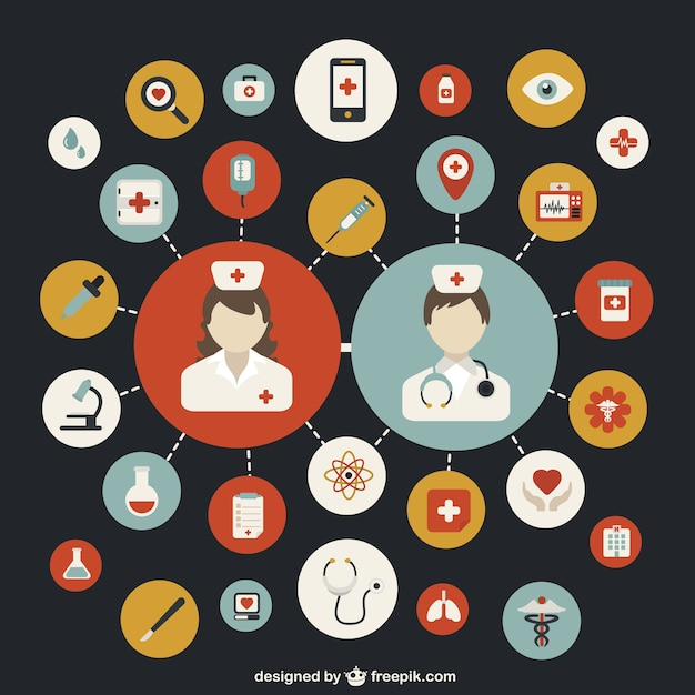 Hospital theme colorful icons Free Vector