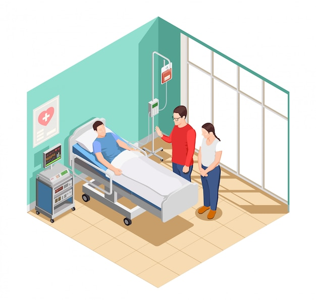 Hospital visit friends isometric composition Free Vector