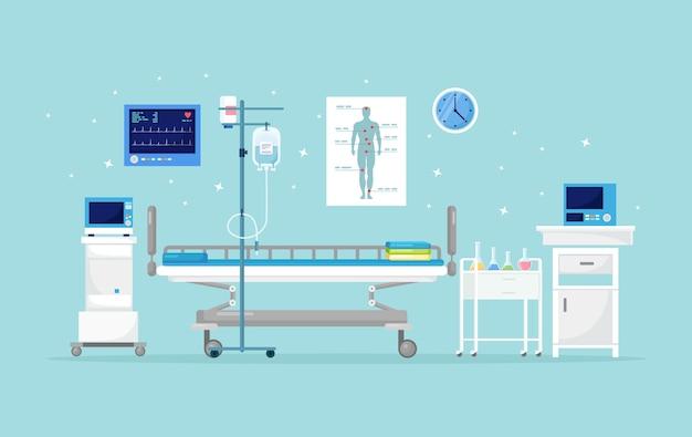 Больничная палата для пациента. интерьер комнаты интенсивной терапии с кроватью Premium векторы