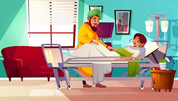 Hospital ward illustration of indian woman patient lying on medical couch and visitor man. Free Vector