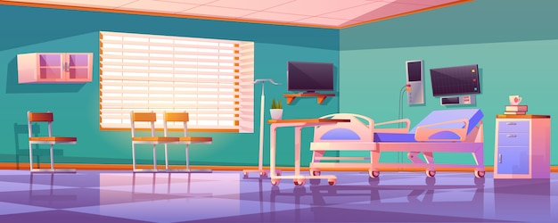 Hospital ward interior with adjustable bed Free Vector
