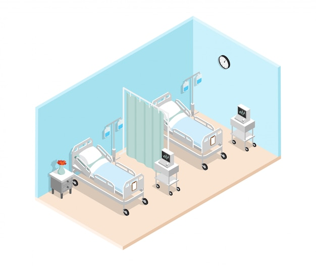Hospital ward isometric interior Free Vector