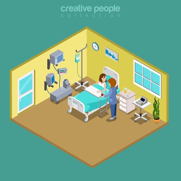 Больничная палата больничная койка медсестра посещение квартиры изометрические медицинские Premium векторы