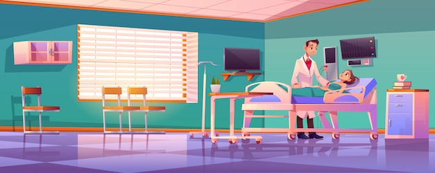 Hospital ward with doctor and patient on bed Free Vector