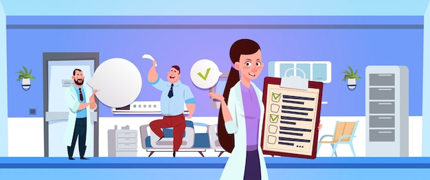 Hospital ward with female nurse holding clapboard over doctor examine patient Premium Vector