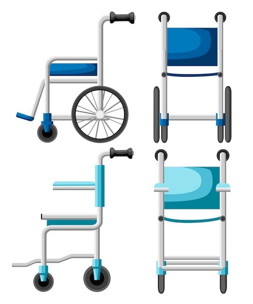Больничная инвалидная коляска. инвалидная коляска синего и бирюзового цветов. иллюстрация вида спереди и сбоку. стиль. на белом фоне Premium векторы