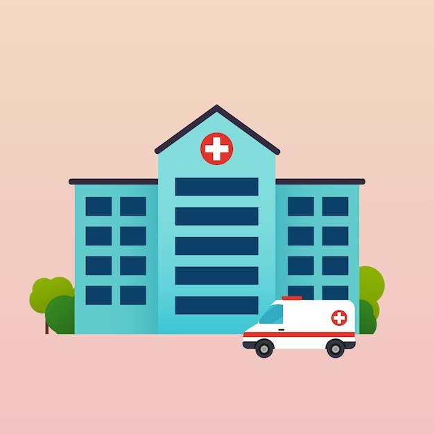 救急車のある病院 Premiumベクター