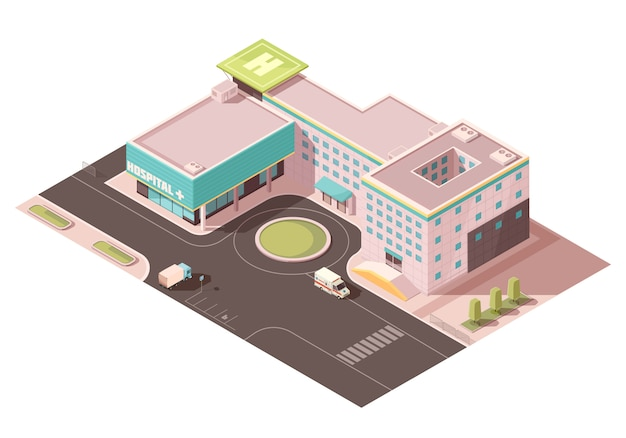 Hospital with signage, helicopter pad and ventilation equipment on roof, road infrastructure, transportation Free Vector