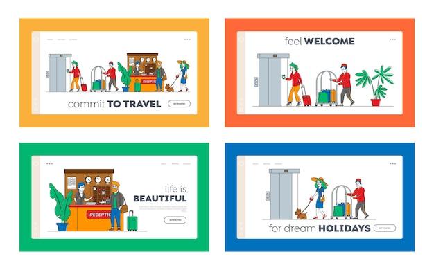 Набор шаблонов целевой страницы гостеприимства. персонажи прибывают, покидают гостиницу. люди на стойке регистрации. берут ключи из комнаты на стойке регистрации. лобби: персонал встречает гостей, посыльный носит багаж. линейный Premium векторы