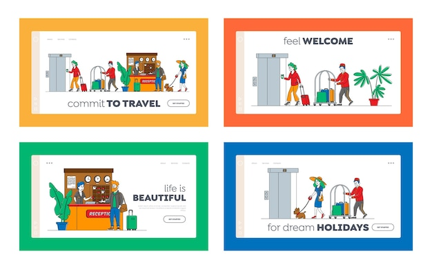 Hospitality landing page template set. characters arrive, leave hotel people at reception take keys from room at clerk desk. lobby staff meet guests, bellboy carry luggage. linear Premium Vector