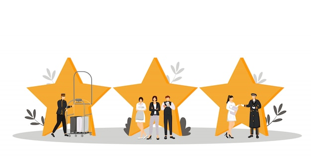 Hospitality service  color  illustration. porter, resort manager, doorman. housekeeper, waiter, administrator. rating stars. hotel staff  cartoon characters on white Premium Vector