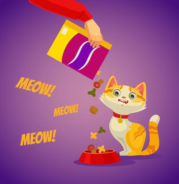 고양이에게 먹이를주는 주인공. 벡터 평면 만화 일러스트 레이션 프리미엄 벡터