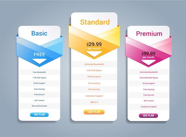 計画ウェブサイトバナーのホスト価格 Premiumベクター