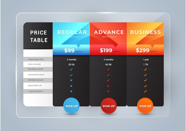 Host pricing for plan website banner. Premium Vector