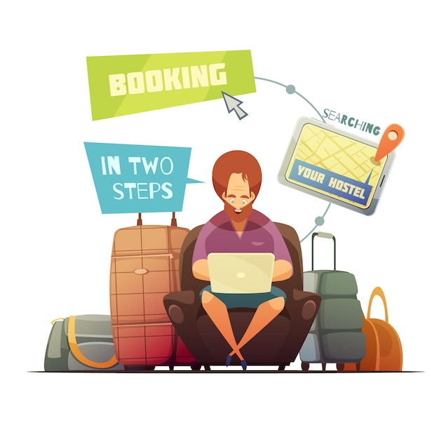 Hostel booking design concept with cartoon hipster busy online searching of guest house flat vector Free Vector