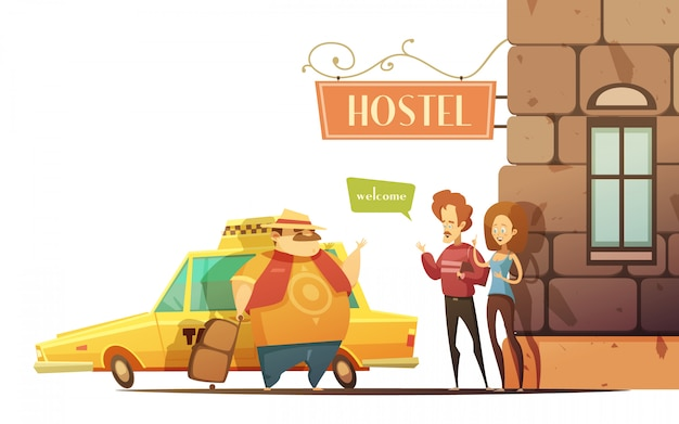 Hostel design concept in cartoon style Free Vector