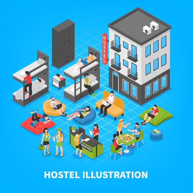 Hostel isometric composition Free Vector