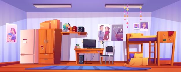 기숙사에서 호스텔 룸, 학생 침실 무료 벡터