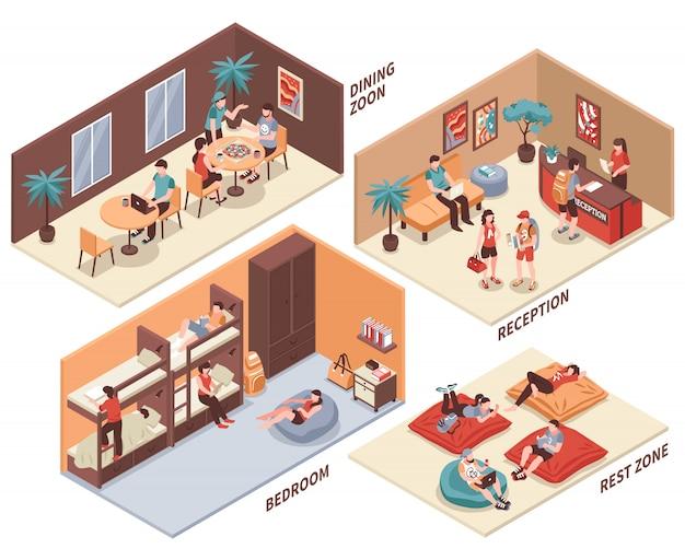 Hostel rooms isometric set Free Vector
