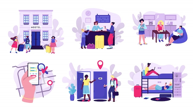 Hostel and tourists accomodation set of  illustrations. room in hostel for stay at night, travelers with luggage, mobile apps screen with map, cheap hotel or motel concept for touristic website. Premium Vector