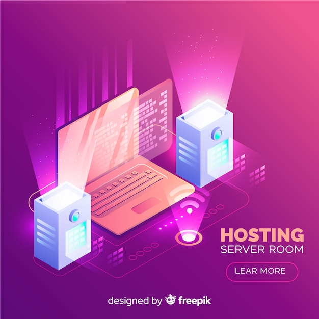 Hosting background in isometric style Free Vector