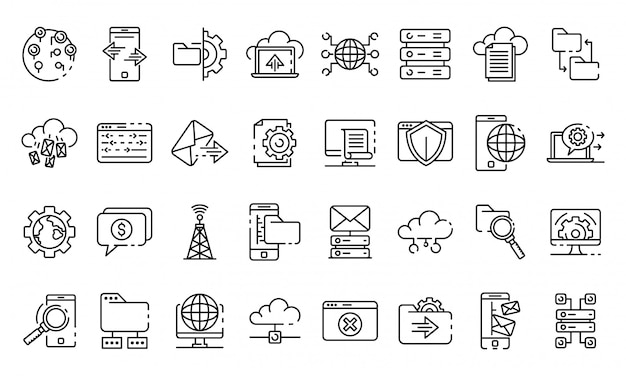Hosting icons set, outline style Premium Vector