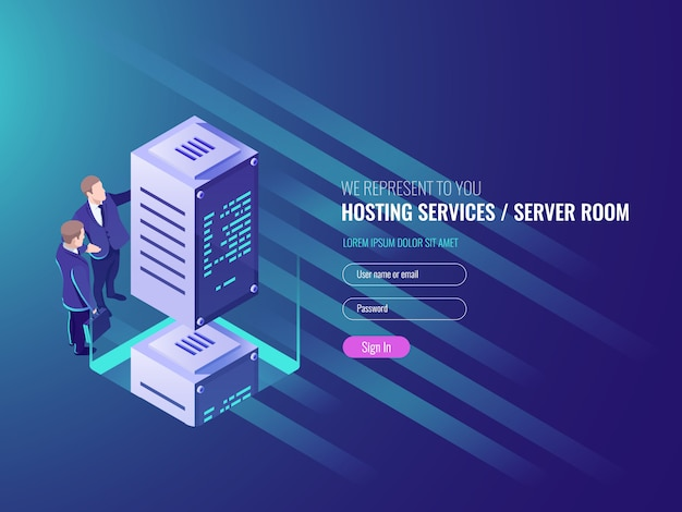 Hosting services concept, cryptocurrency and\ blockchain isometric composition