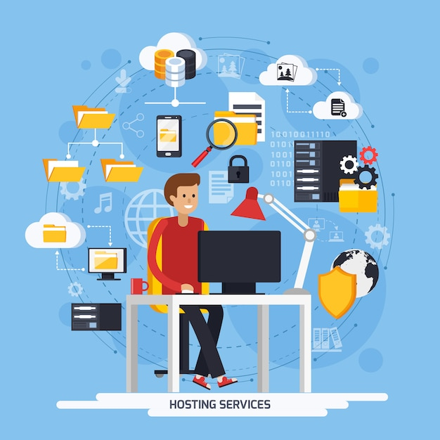 Hosting services concept Free Vector