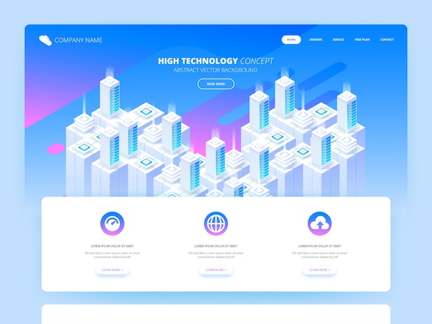 Hosting services, data center, server server room, template of page on information technologies theme. isometric  illustration Premium Vector