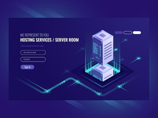 Услуги хостинга, дата-центр, серверная серверная комната Бесплатные векторы