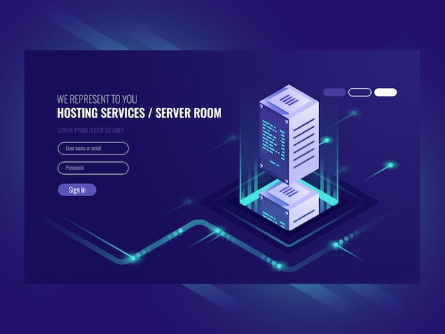 Hosting services, data center, server server room Free Vector