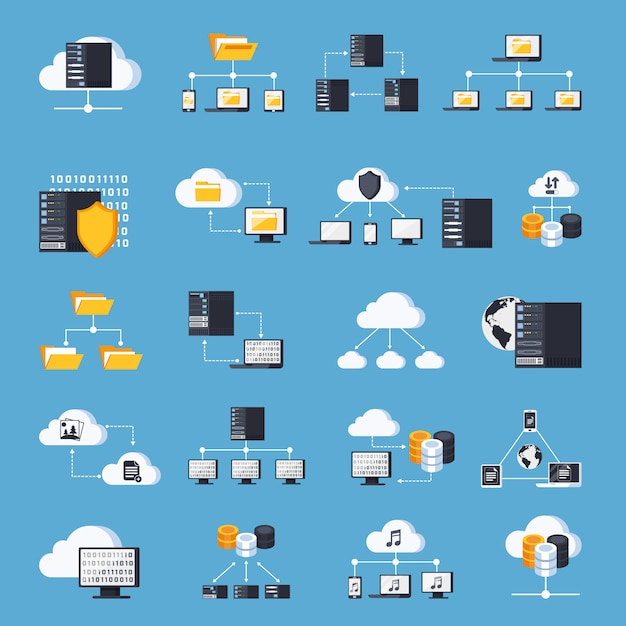 Hosting services icons set Free Vector