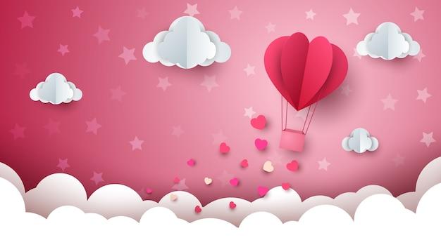 hot air ballon background of valentine Premium Vector