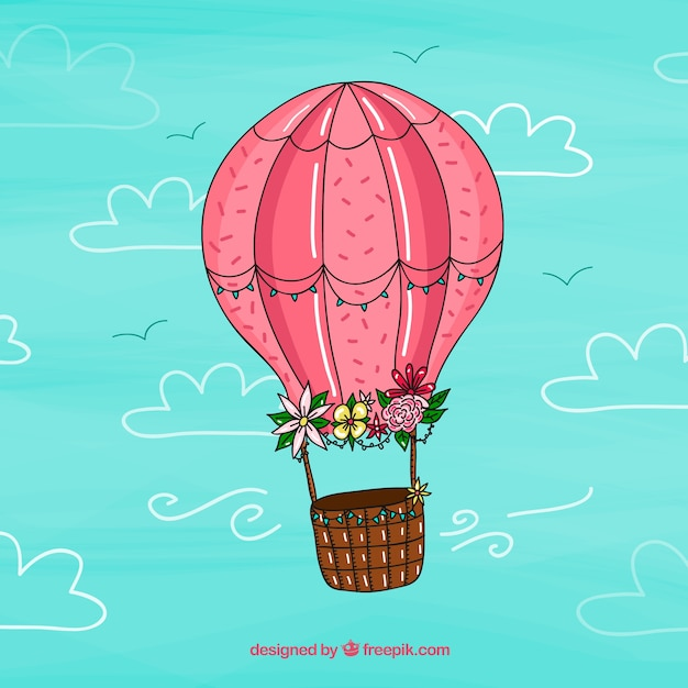 Hot air balloon background with sky in hand drawn style ...