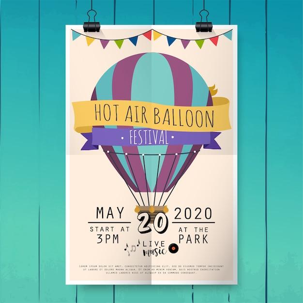 熱気球フェスティバル。祭ポスターやチラシテンプレート。図。 Premiumベクター