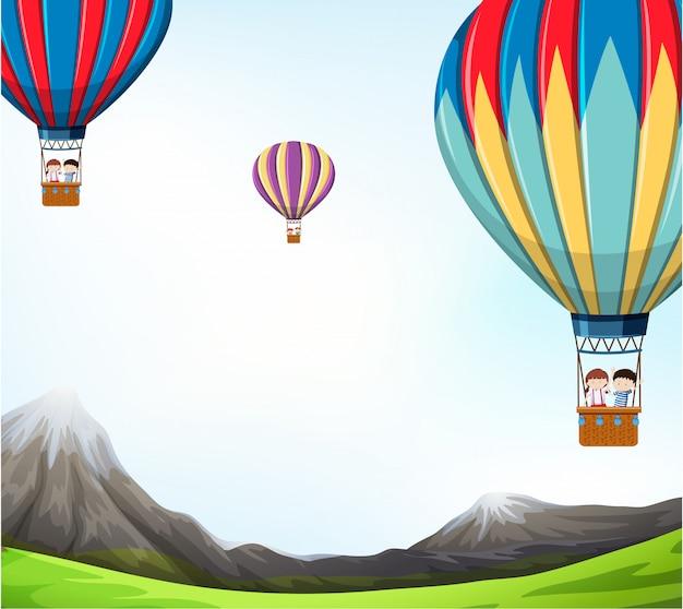 Hot air balloon scene illustration Free Vector