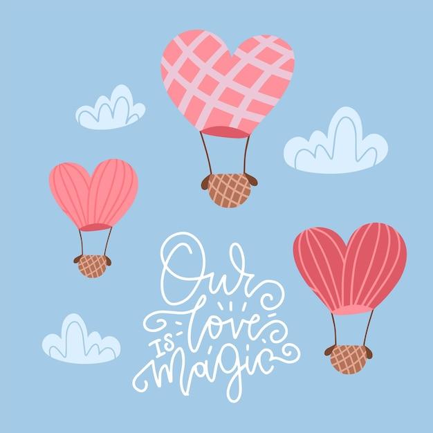 Hot air balloon in shape of heart in sky between dash clouds. Premium Vector