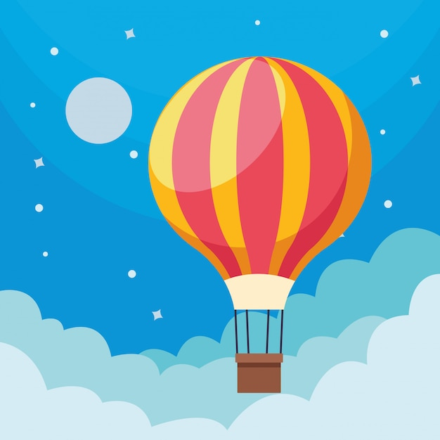 Hot air balloon in sky Free Vector