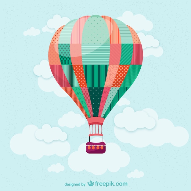 Hot air balloon in the sky Free Vector