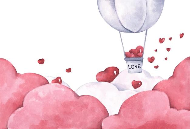 ハートの熱気球が空に浮かんでいます。愛とバレンタインデーのイラスト。水彩イラスト。 Premiumベクター